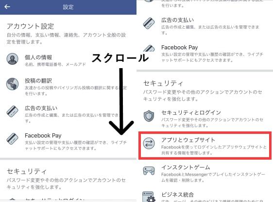 facebookのアプリとウェブサイト